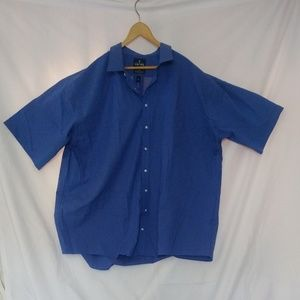 Stafford Button Down Short Sleeve Blue Shirt